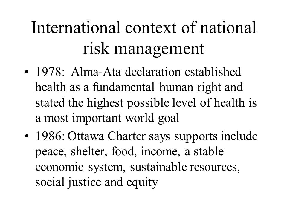 International context of national risk management