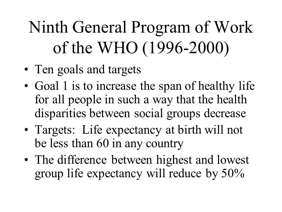 Ninth General Program of Work of the WHO (1996-2000)