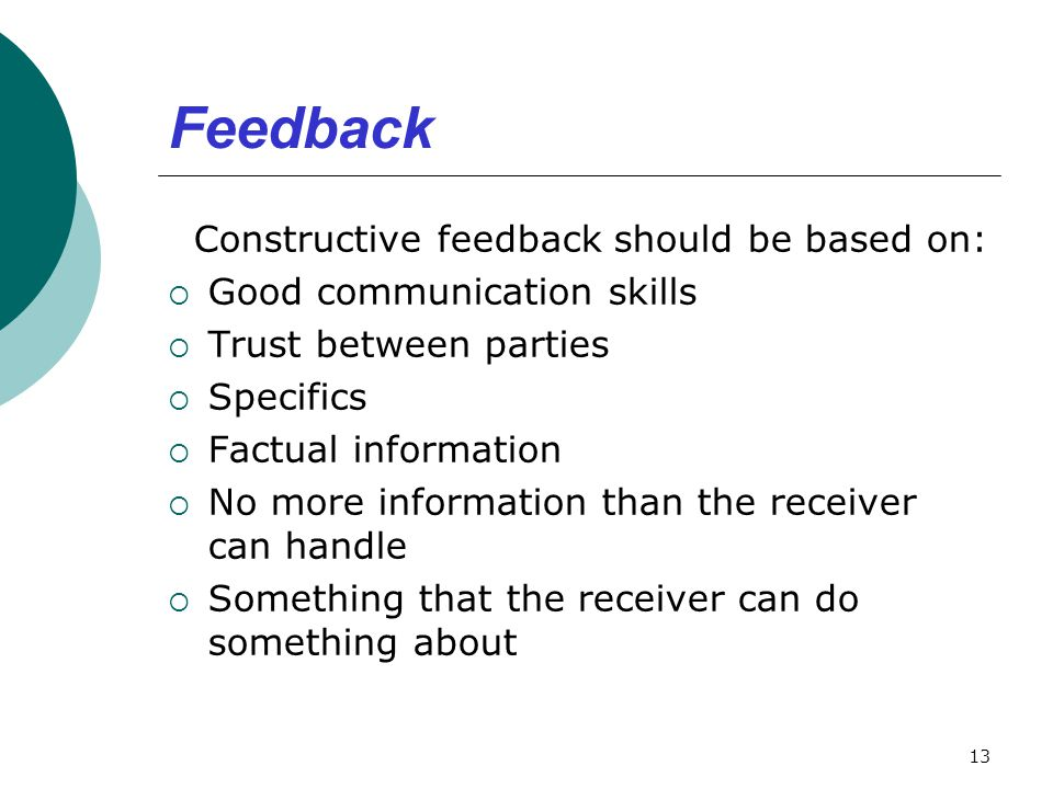 Feedback Constructive feedback should be based on: