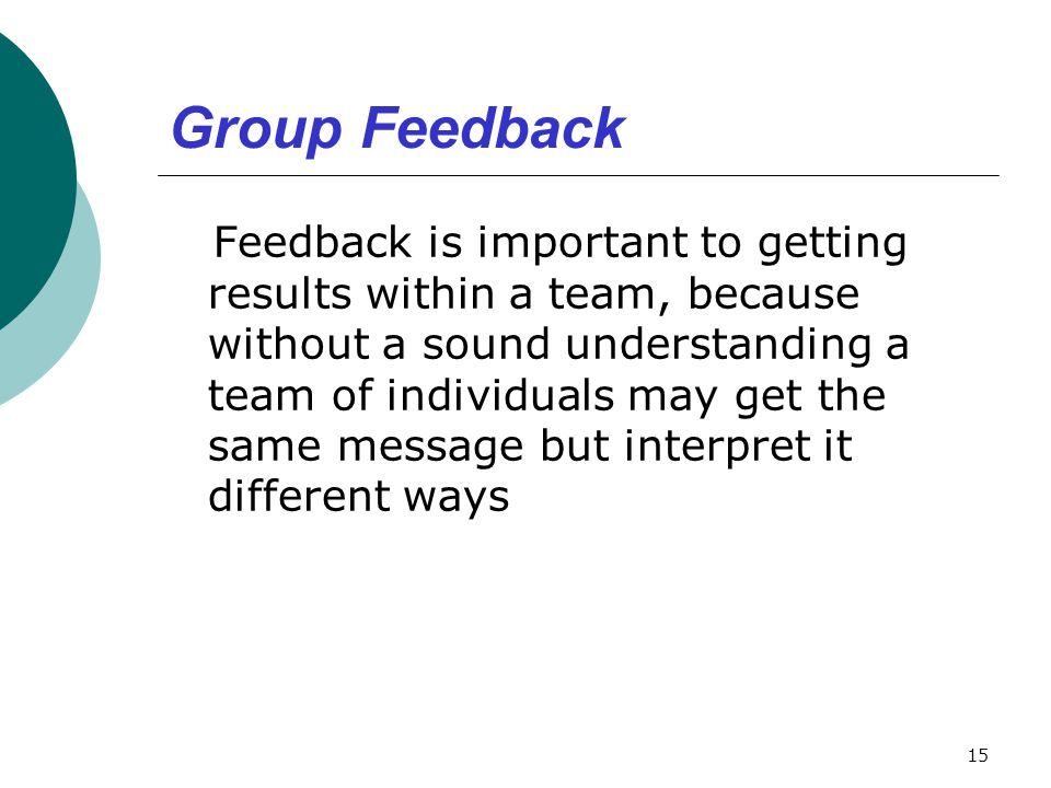 Group Feedback