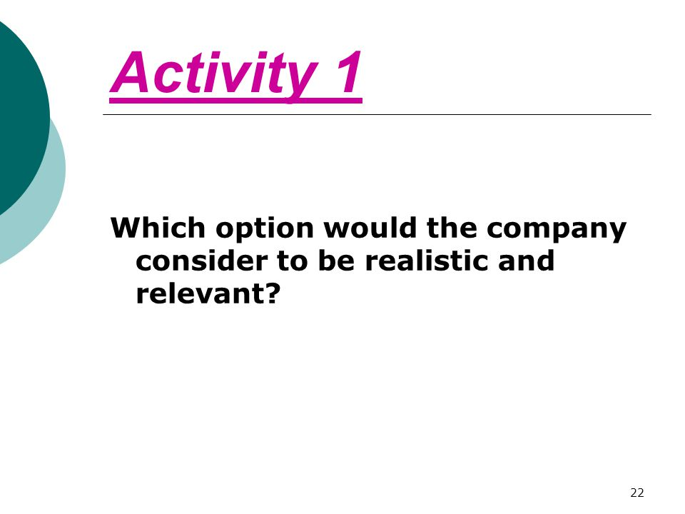 Activity 1 Which option would the company consider to be realistic and relevant