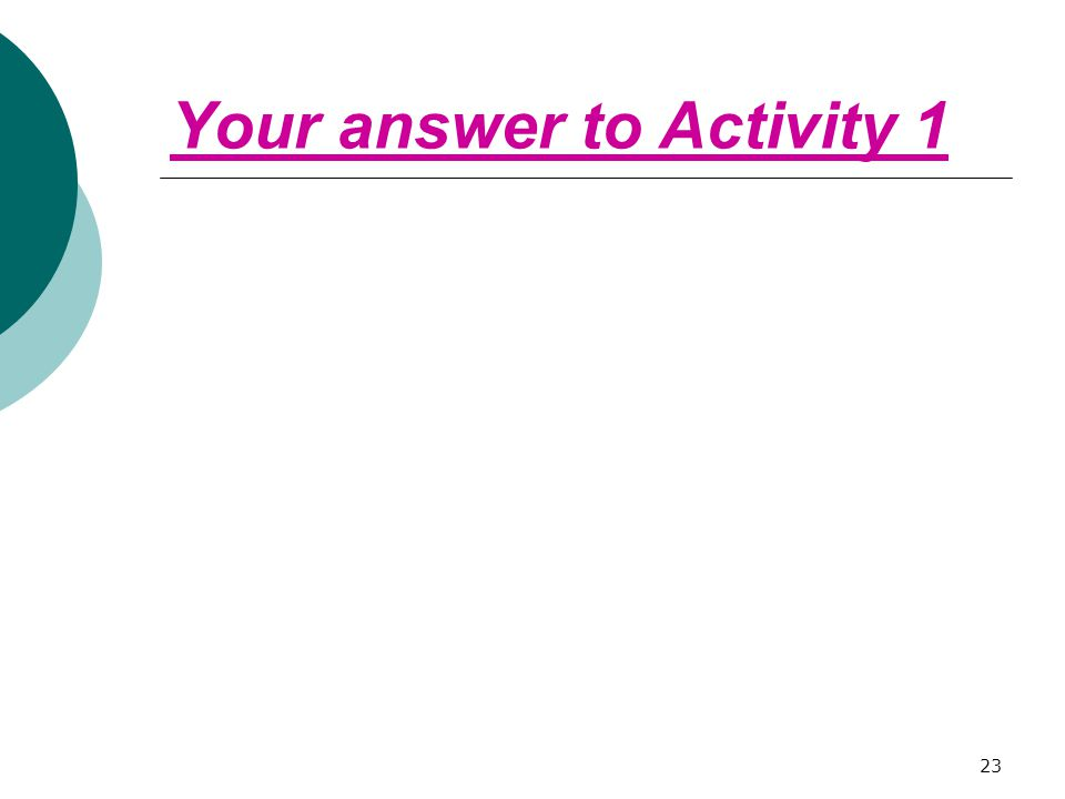 Your answer to Activity 1