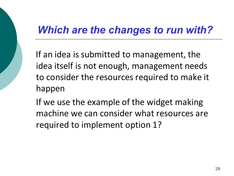 Which are the changes to run with
