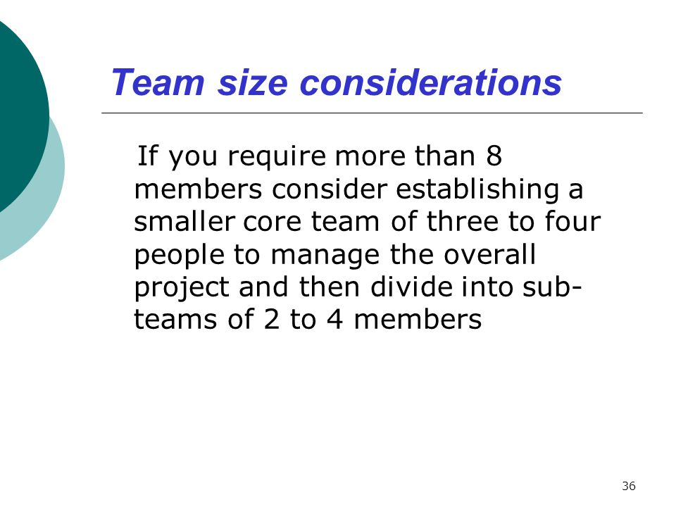 Team size considerations