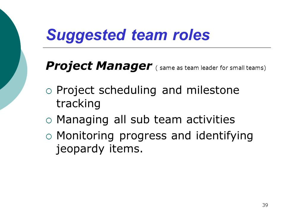 Suggested team roles Project Manager ( same as team leader for small teams) Project scheduling and milestone tracking.