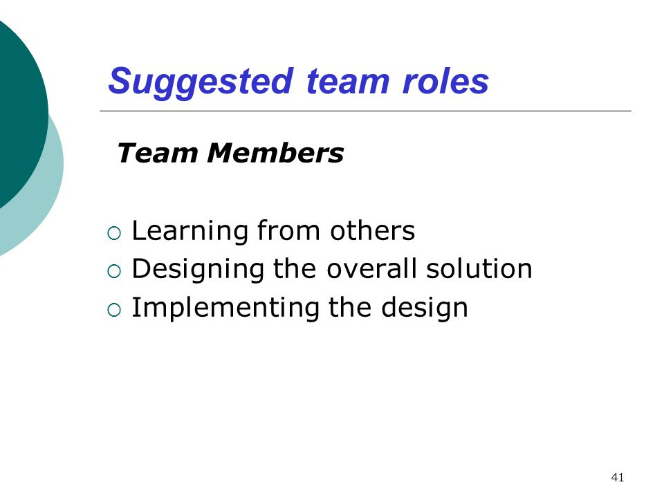 Suggested team roles Team Members Learning from others