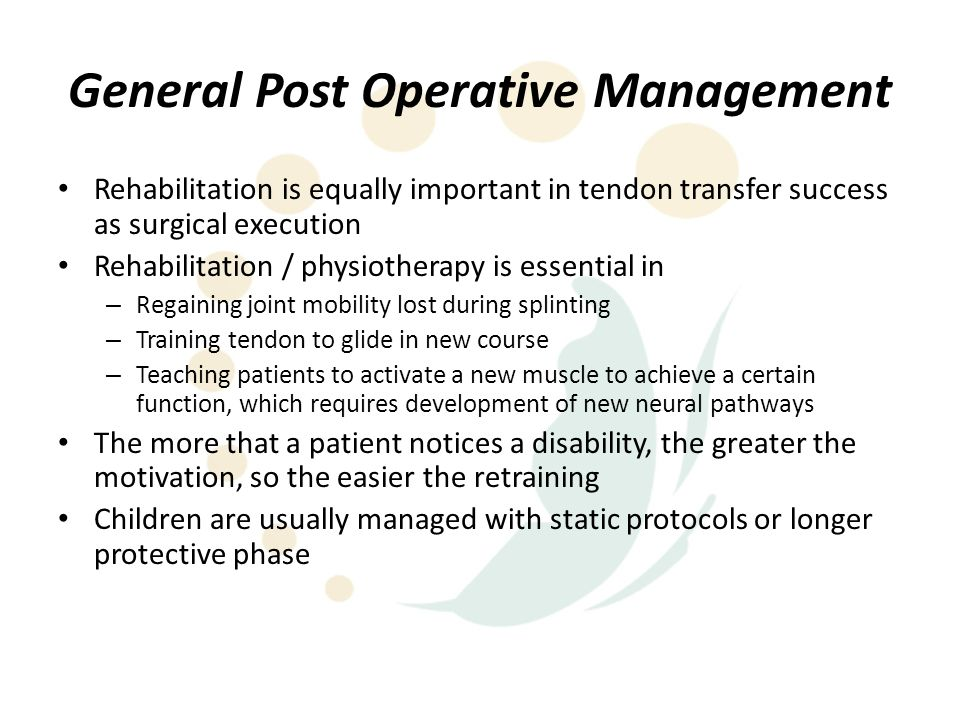 General Post Operative Management