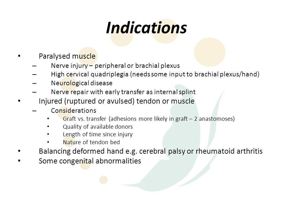 Indications Paralysed muscle