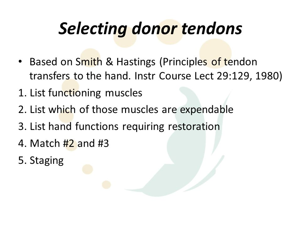 Selecting donor tendons