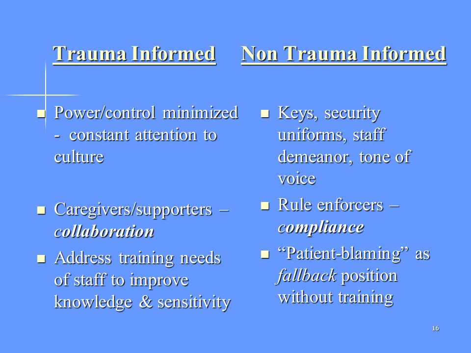 Trauma Informed Non Trauma Informed