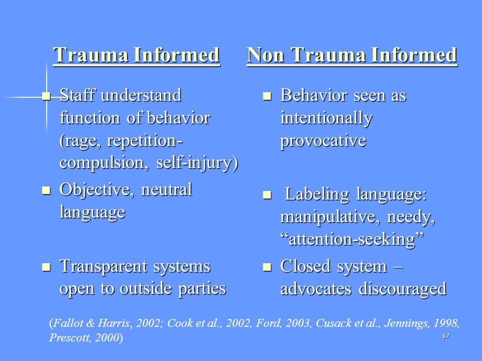 Creating Trauma Informed Systems Of Care For Human Service
