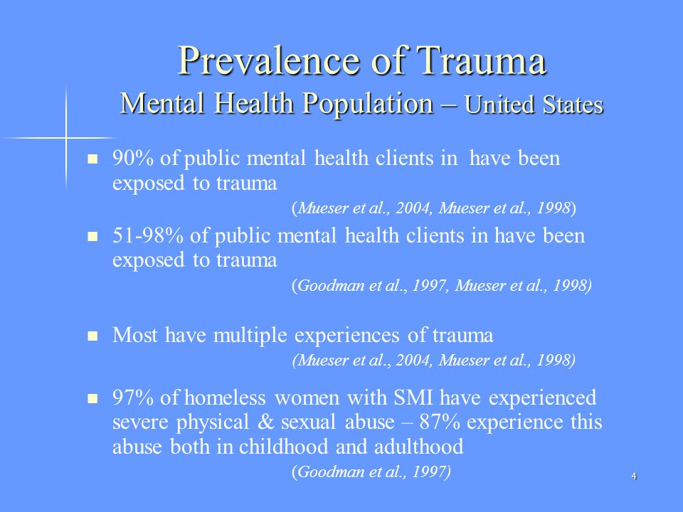 Prevalence of Trauma Mental Health Population – United States