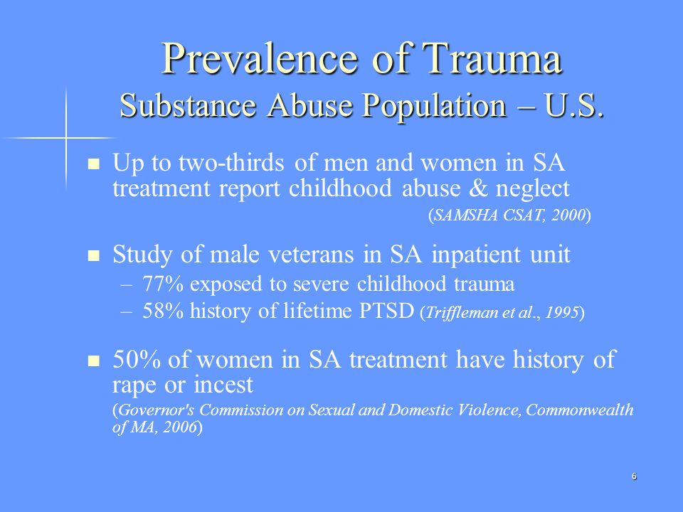Prevalence of Trauma Substance Abuse Population – U.S.