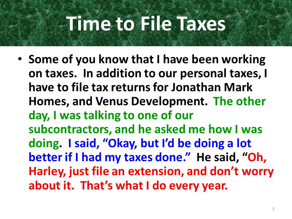 Time to File Taxes