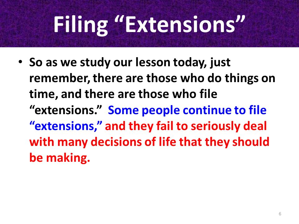 Filing Extensions