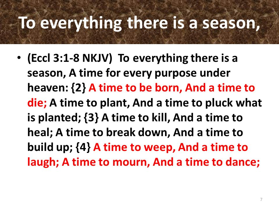 To everything there is a season,