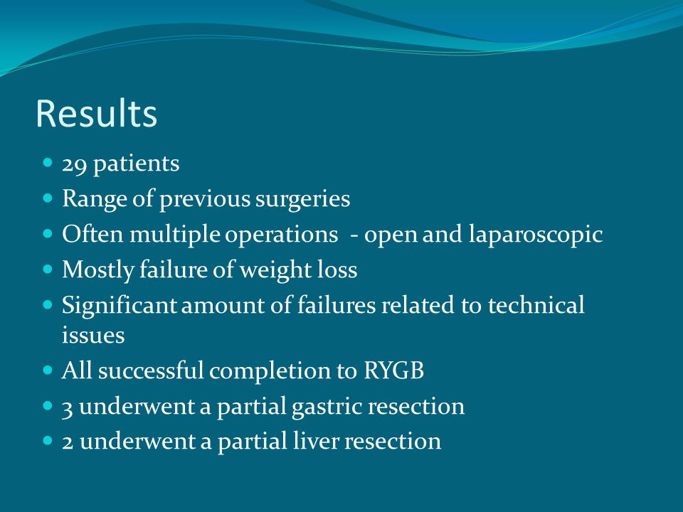 Results 29 patients Range of previous surgeries