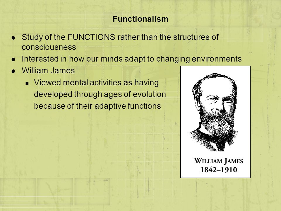 Functionalism Study of the FUNCTIONS rather than the structures of consciousness. Interested in how our minds adapt to changing environments.