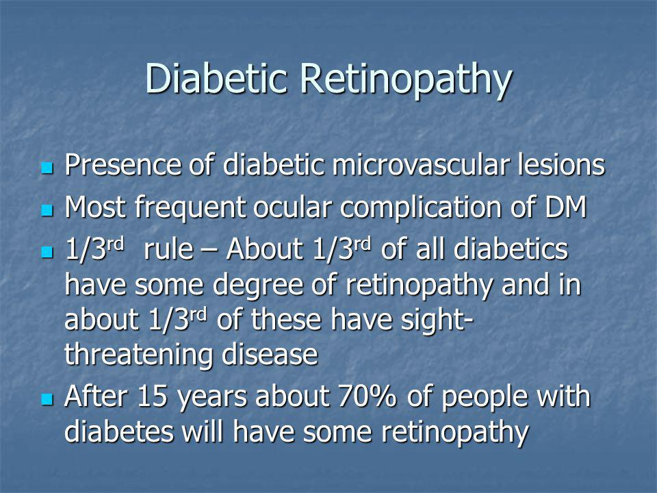 Diabetic Retinopathy Presence of diabetic microvascular lesions