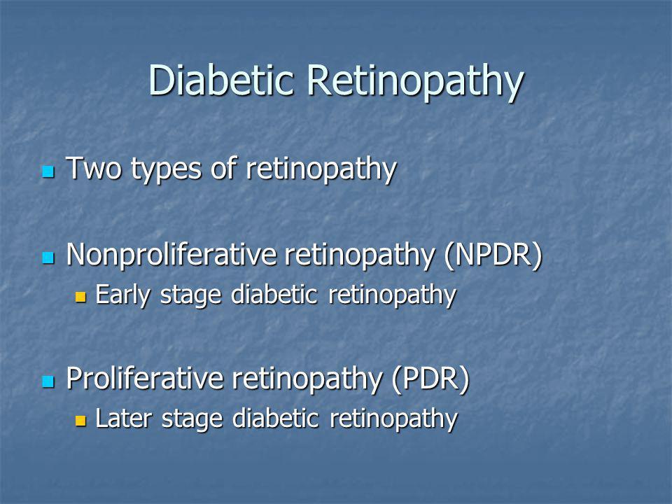 Diabetic Retinopathy Two types of retinopathy