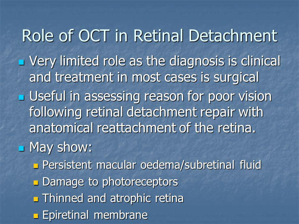 Role of OCT in Retinal Detachment