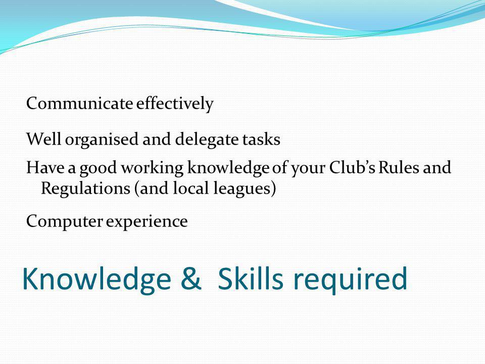 Knowledge & Skills required