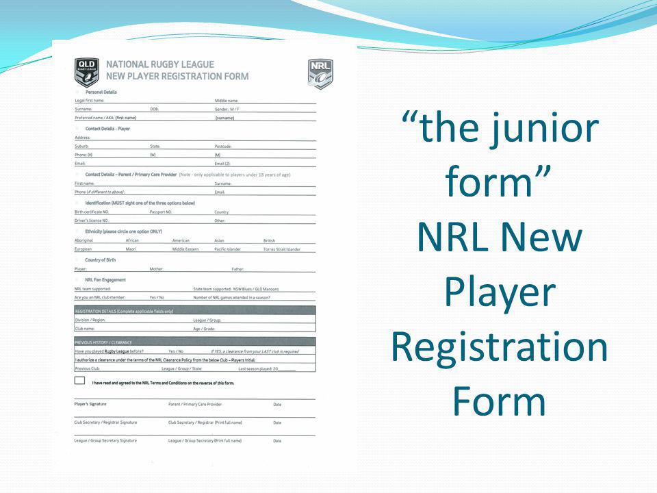 the junior form NRL New Player Registration Form