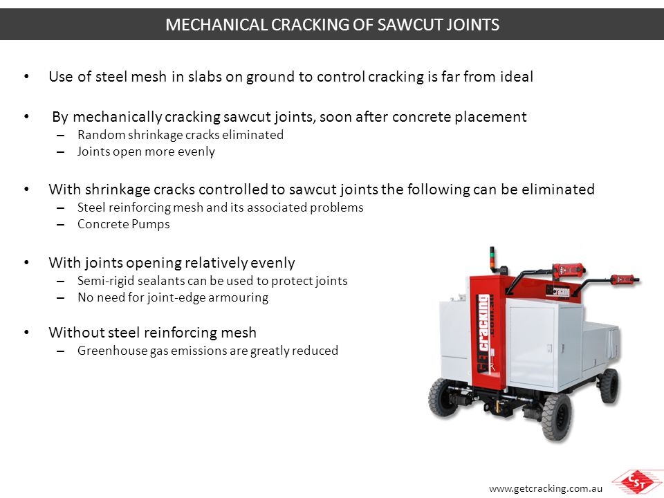 MECHANICAL CRACKING OF SAWCUT JOINTS