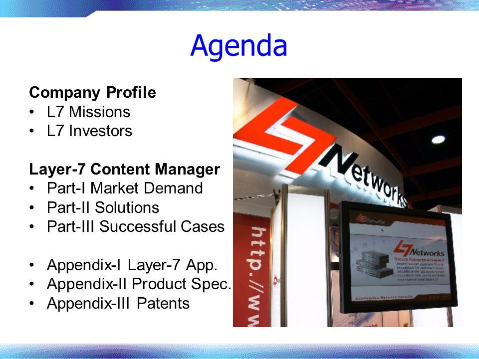 Agenda Company Profile L7 Missions L7 Investors