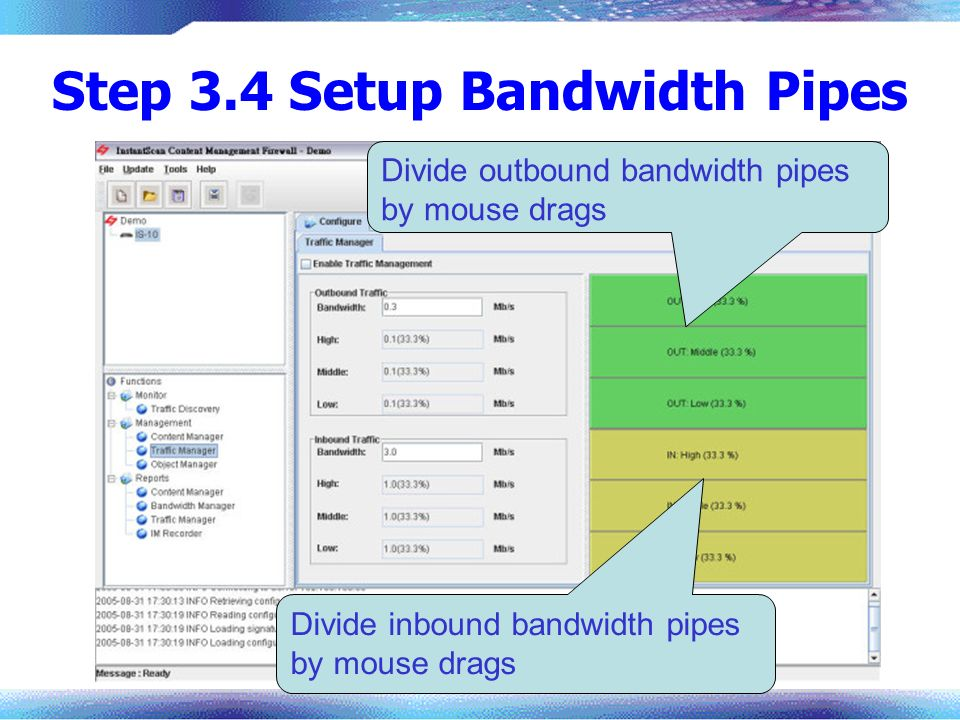 Step 3.4 Setup Bandwidth Pipes