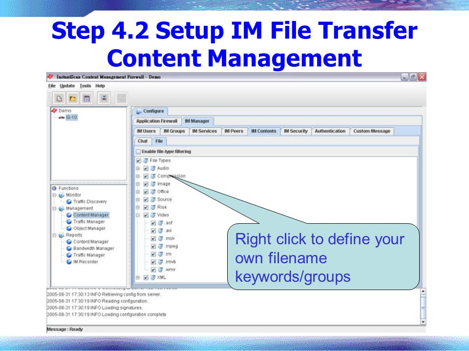 Step 4.2 Setup IM File Transfer Content Management