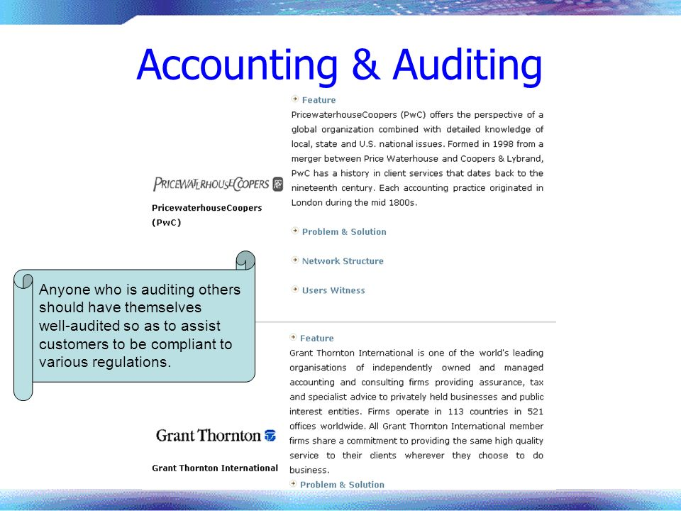 Accounting & Auditing Anyone who is auditing others