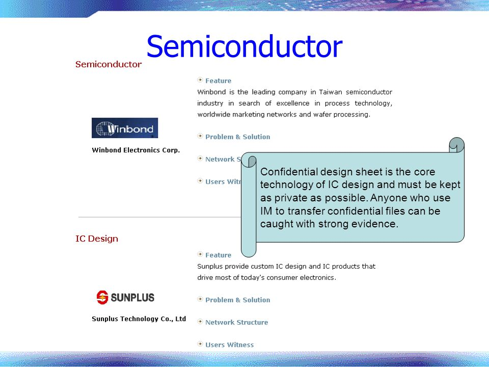 Semiconductor Confidential design sheet is the core