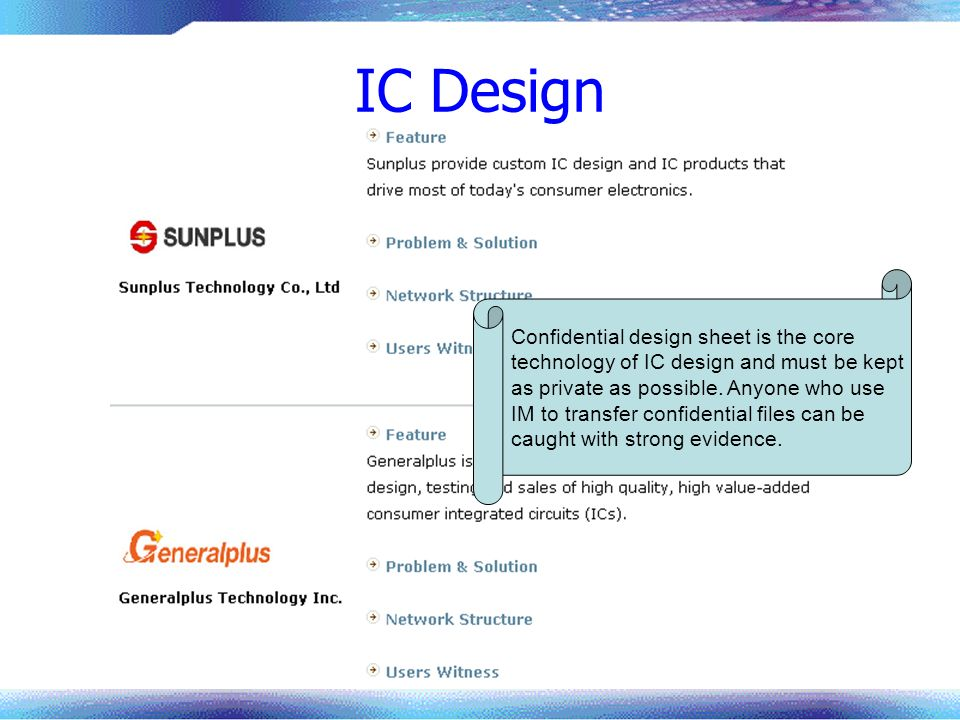 IC Design Confidential design sheet is the core