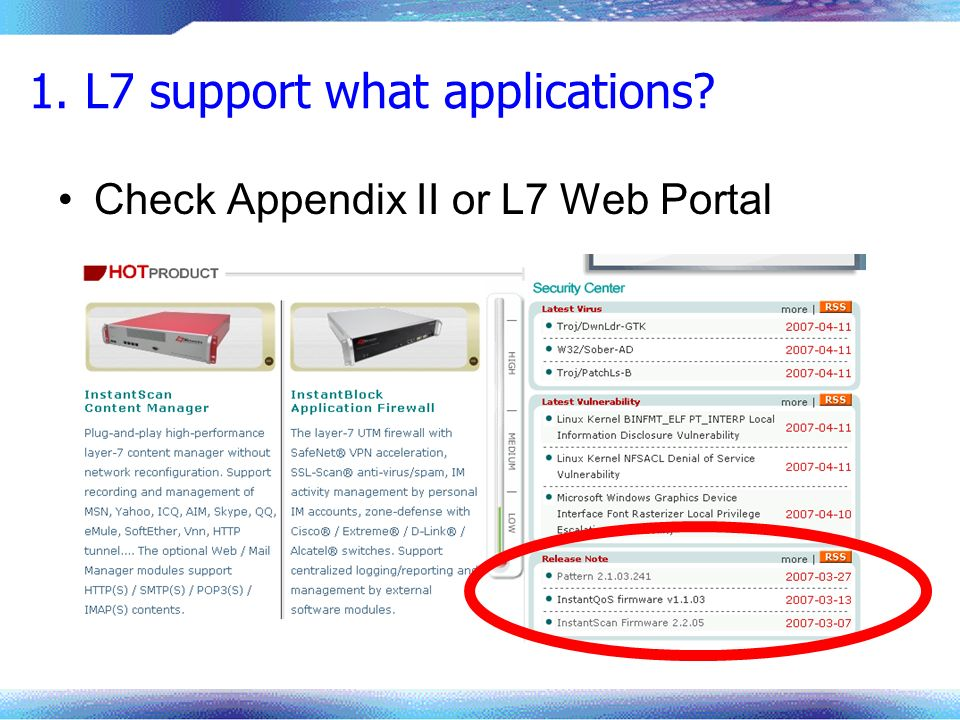 1. L7 support what applications