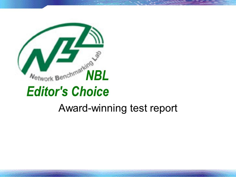 Award-winning test report