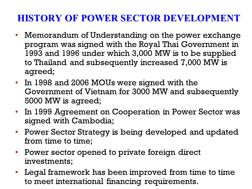 HISTORY OF POWER SECTOR DEVELOPMENT