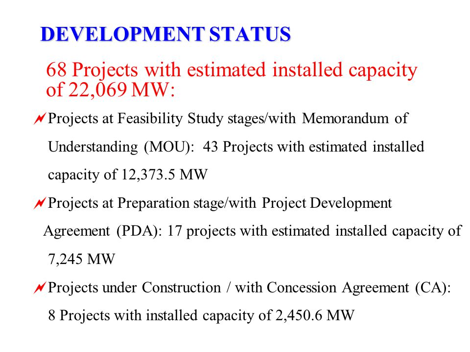68 Projects with estimated installed capacity of 22,069 MW: