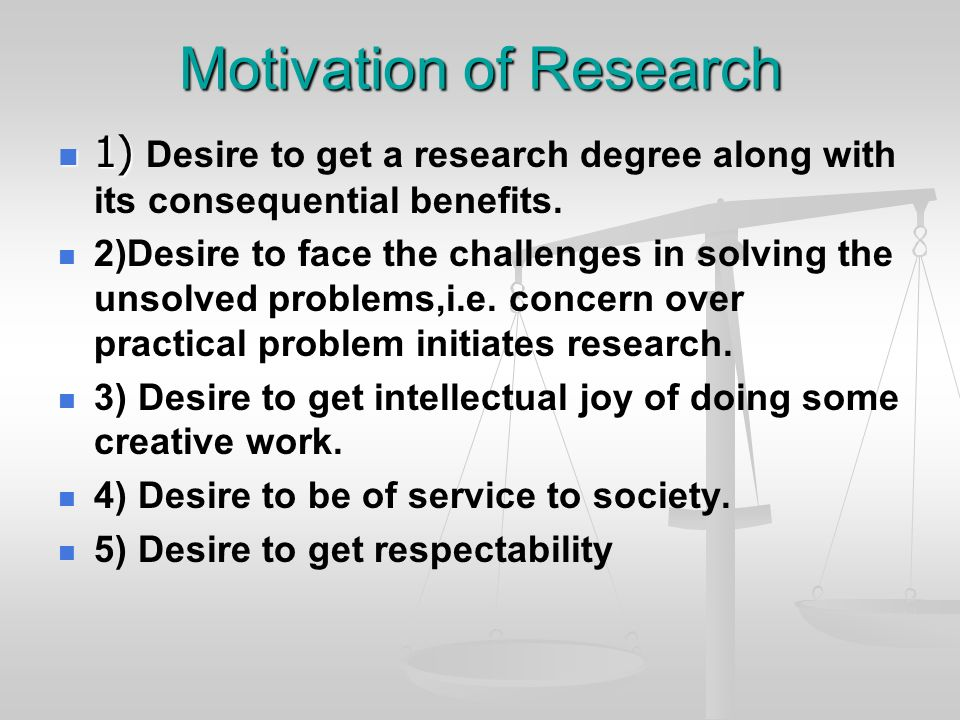Motivation of Research