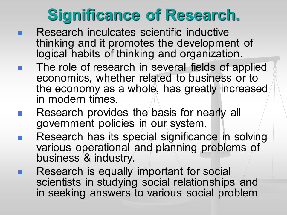 Significance of Research.
