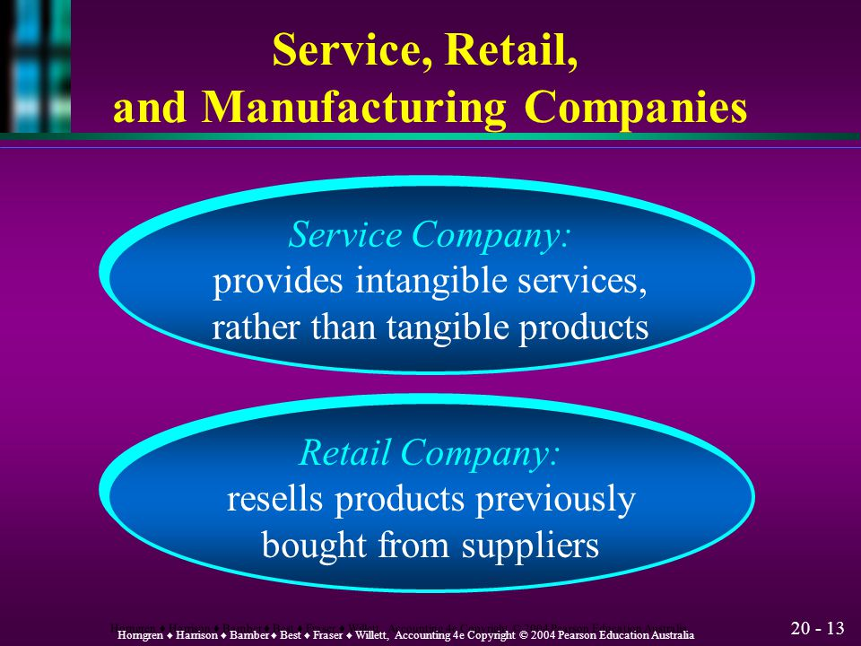 Service, Retail, and Manufacturing Companies