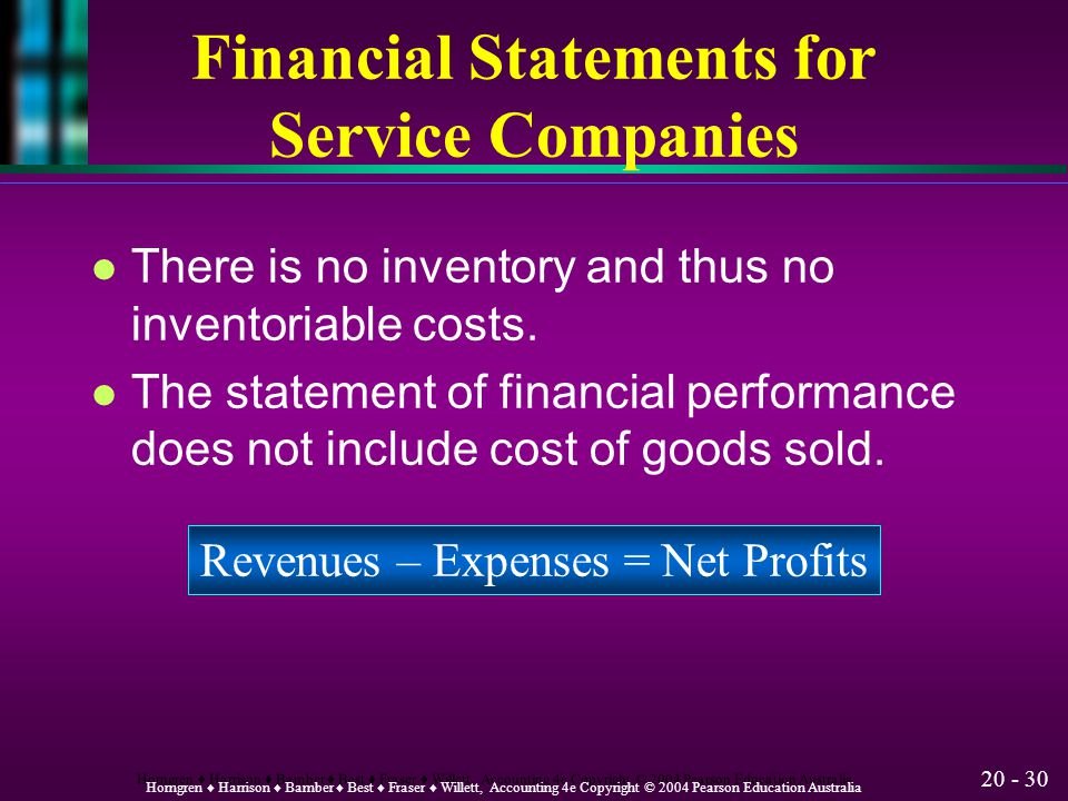 Financial Statements for Service Companies