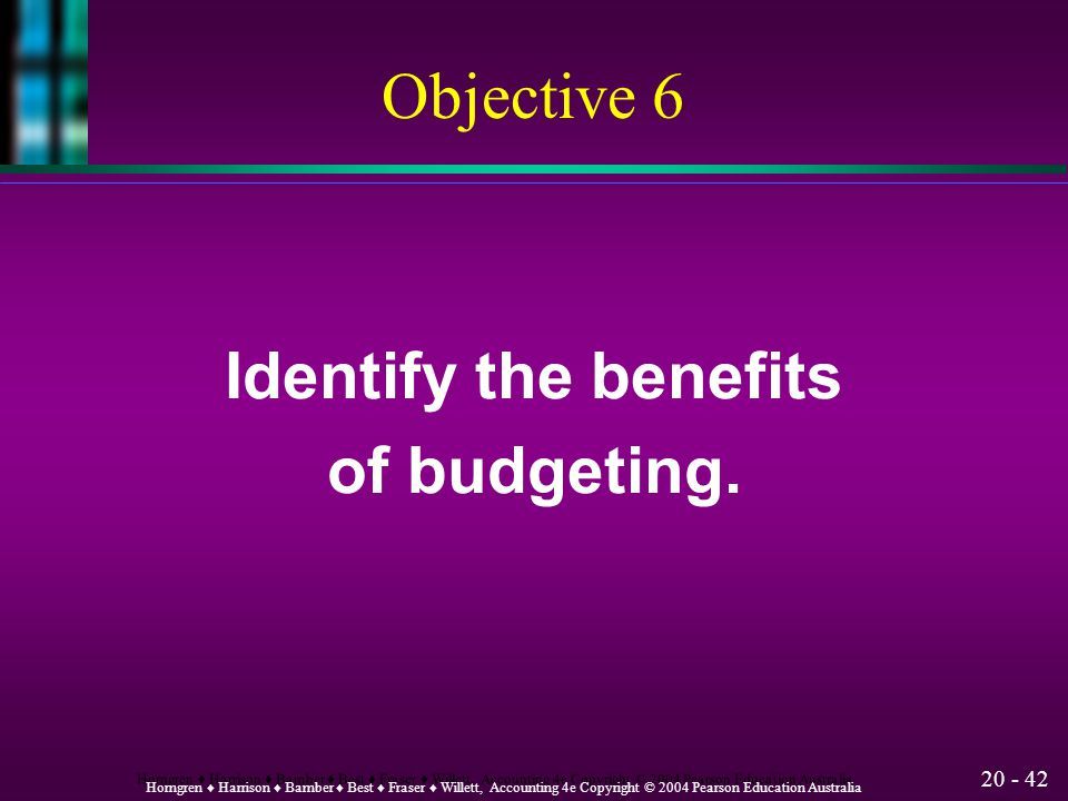 Objective 6 Identify the benefits of budgeting.