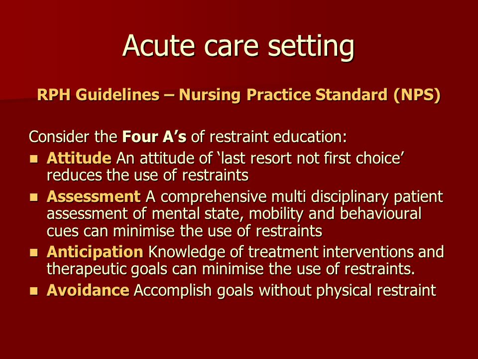 RPH Guidelines – Nursing Practice Standard (NPS)