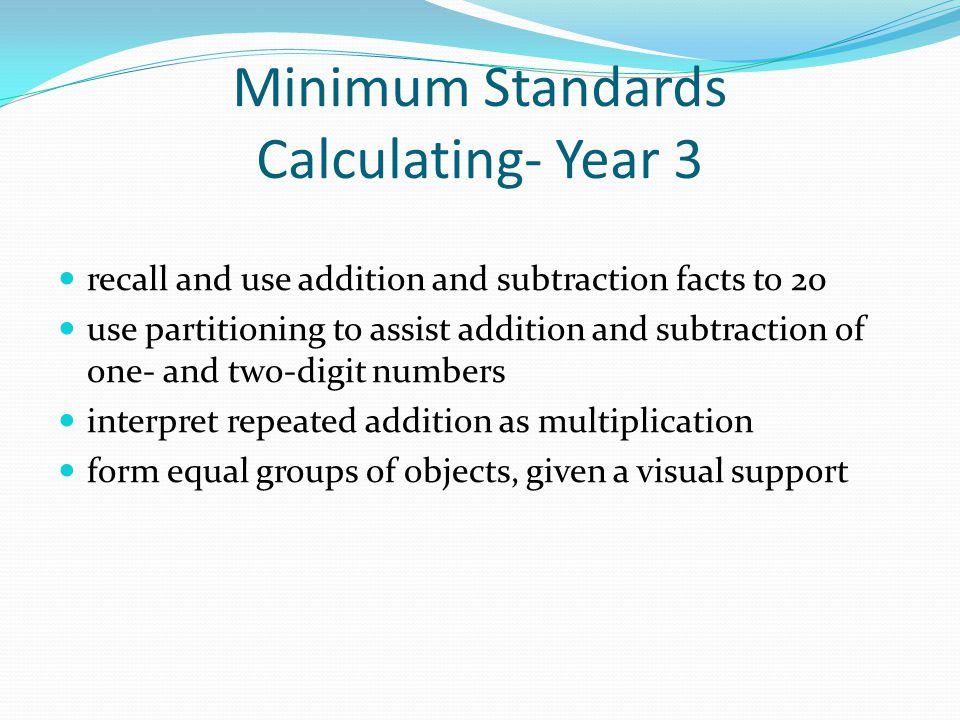 Minimum Standards Calculating- Year 3