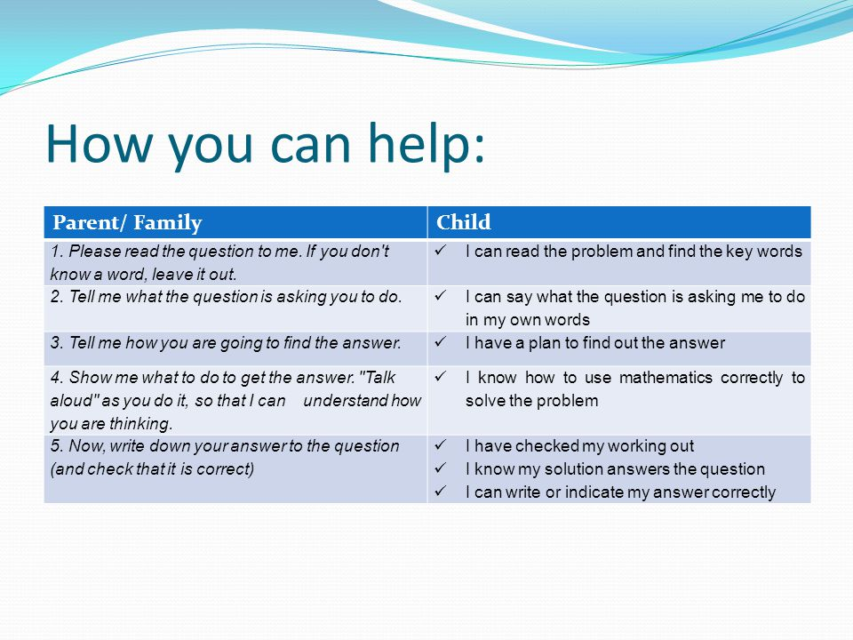 How you can help: Parent/ Family Child