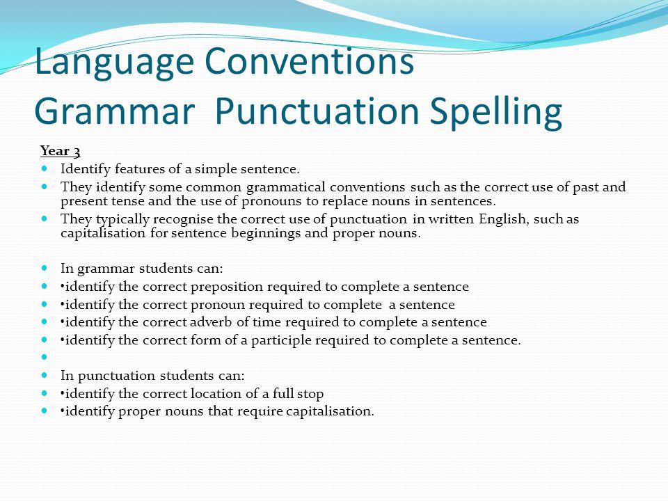 Language Conventions Grammar Punctuation Spelling