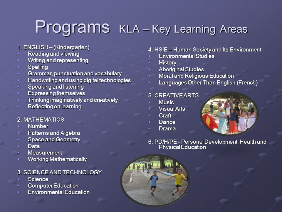 Programs KLA – Key Learning Areas