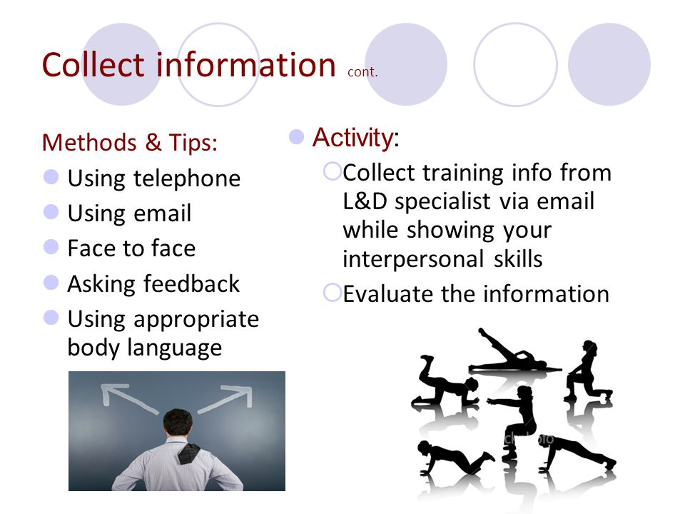 Collect information cont.