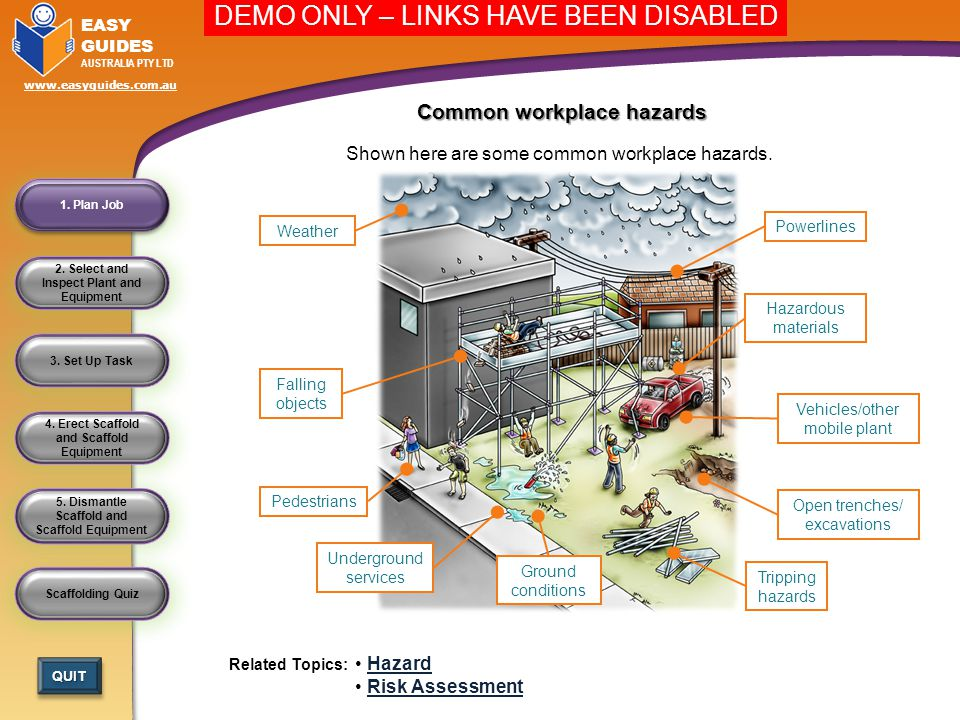 hazards of materials Information on how proper planning, safe work practices and a thorough clean up will help to reduce the risk of building and industry hazards.